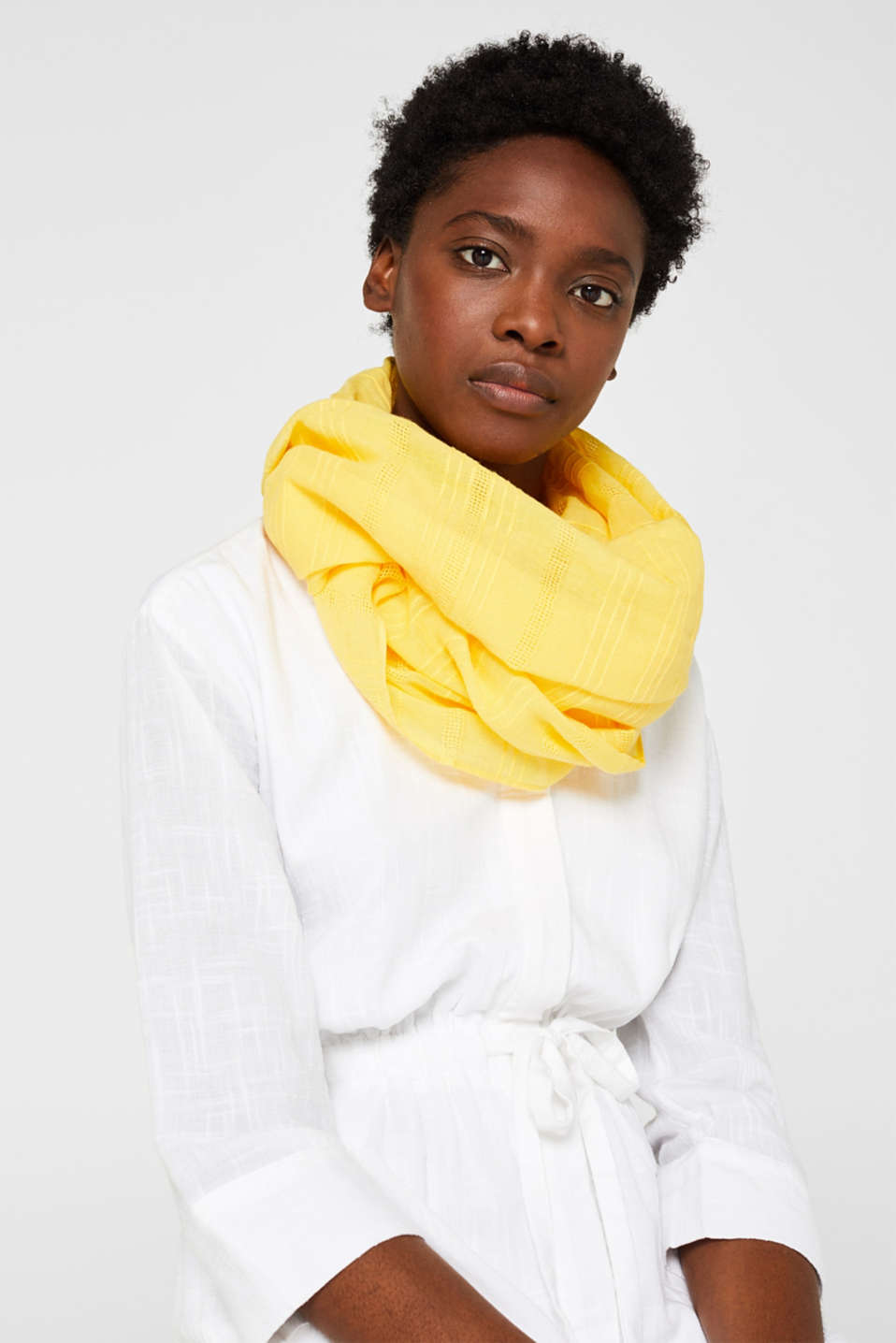 Shawls/Scarves, BRIGHT YELLOW, detail image number 1