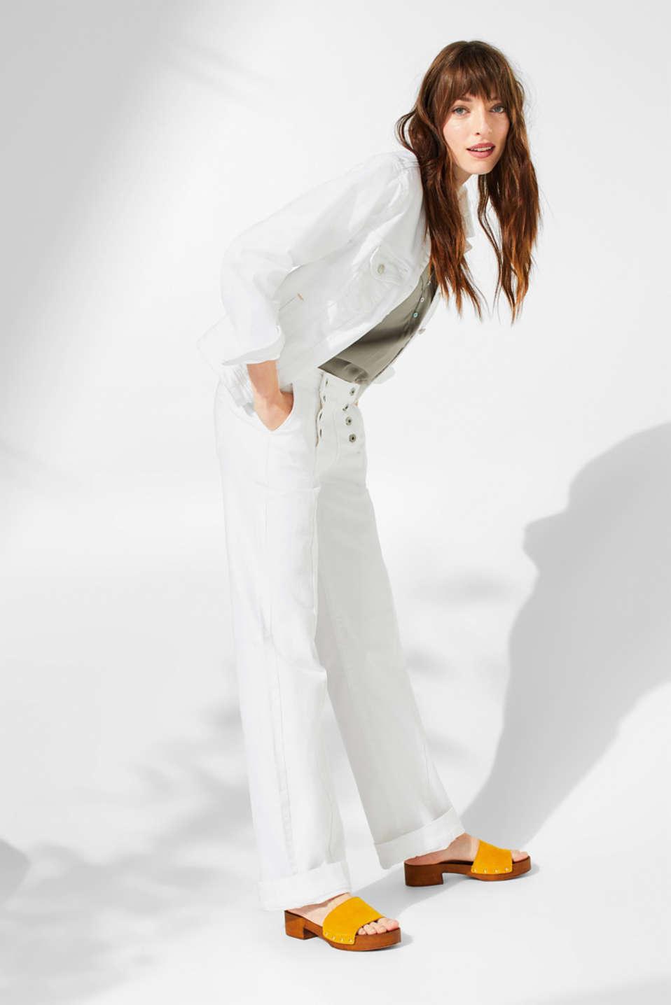 Pants denim, WHITE, detail image number 0