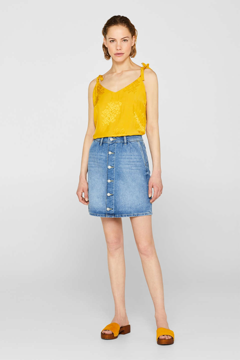 Denim mini skirt in 100% cotton, BLUE MEDIUM WASH, detail