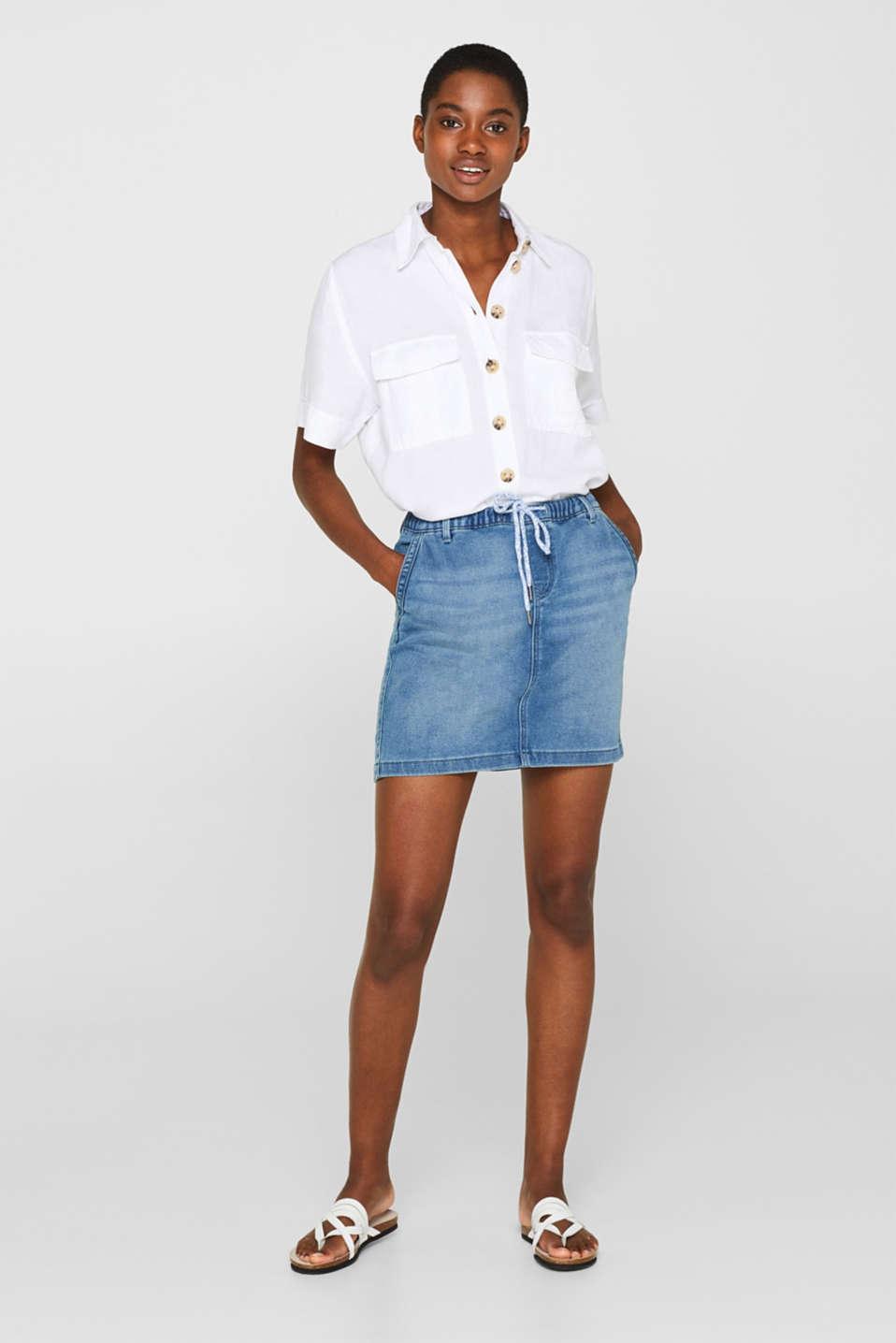 Denim mini skirt in tracksuit fabric