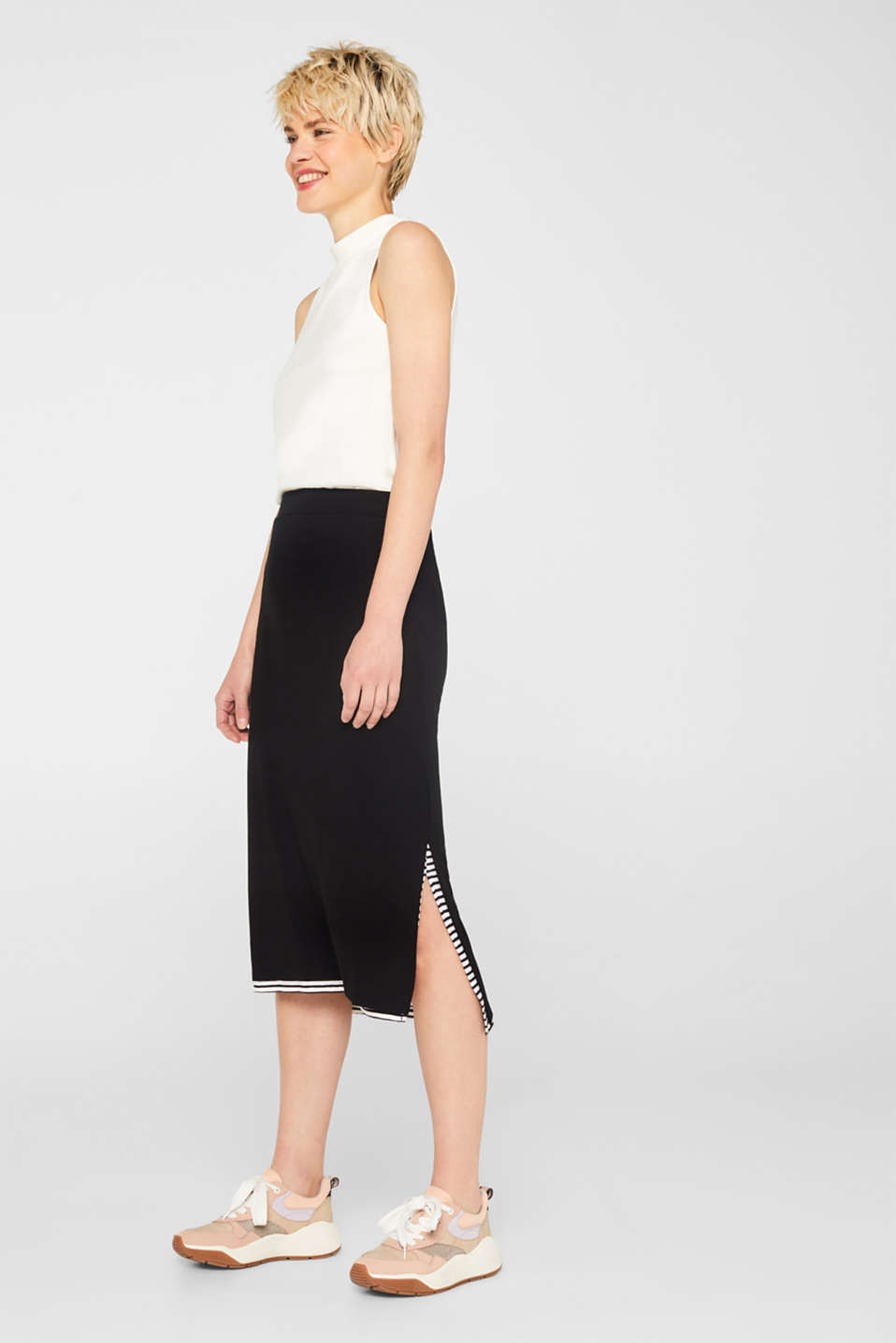 edc - 2-in-1 jersey dress with a layered hem