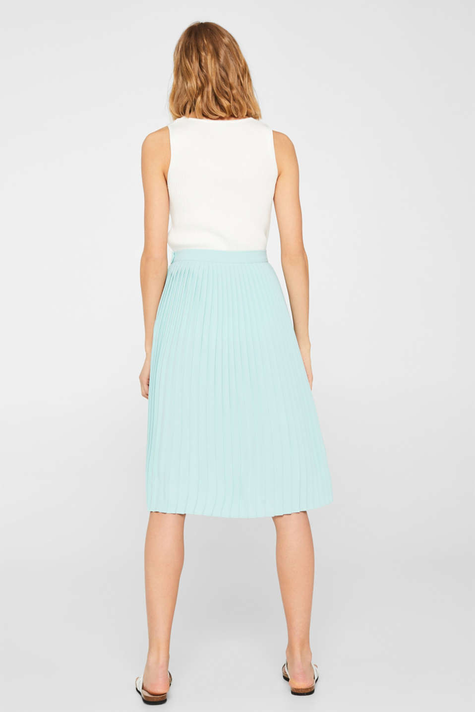 Pleated skirt in a midi length, LIGHT AQUA GREEN, detail image number 3