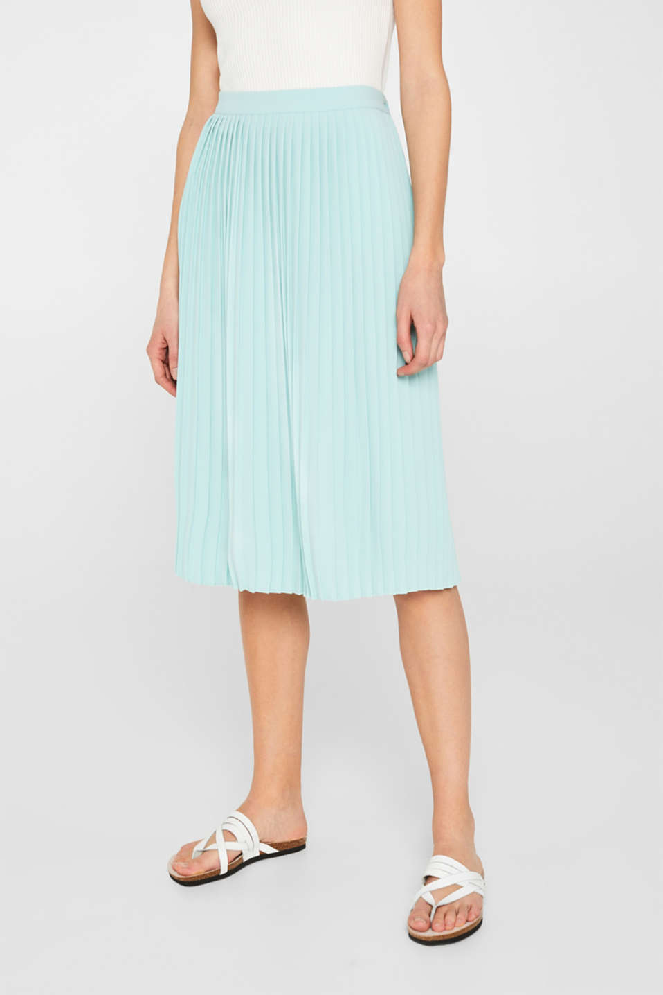 Pleated skirt in a midi length, LIGHT AQUA GREEN, detail image number 5