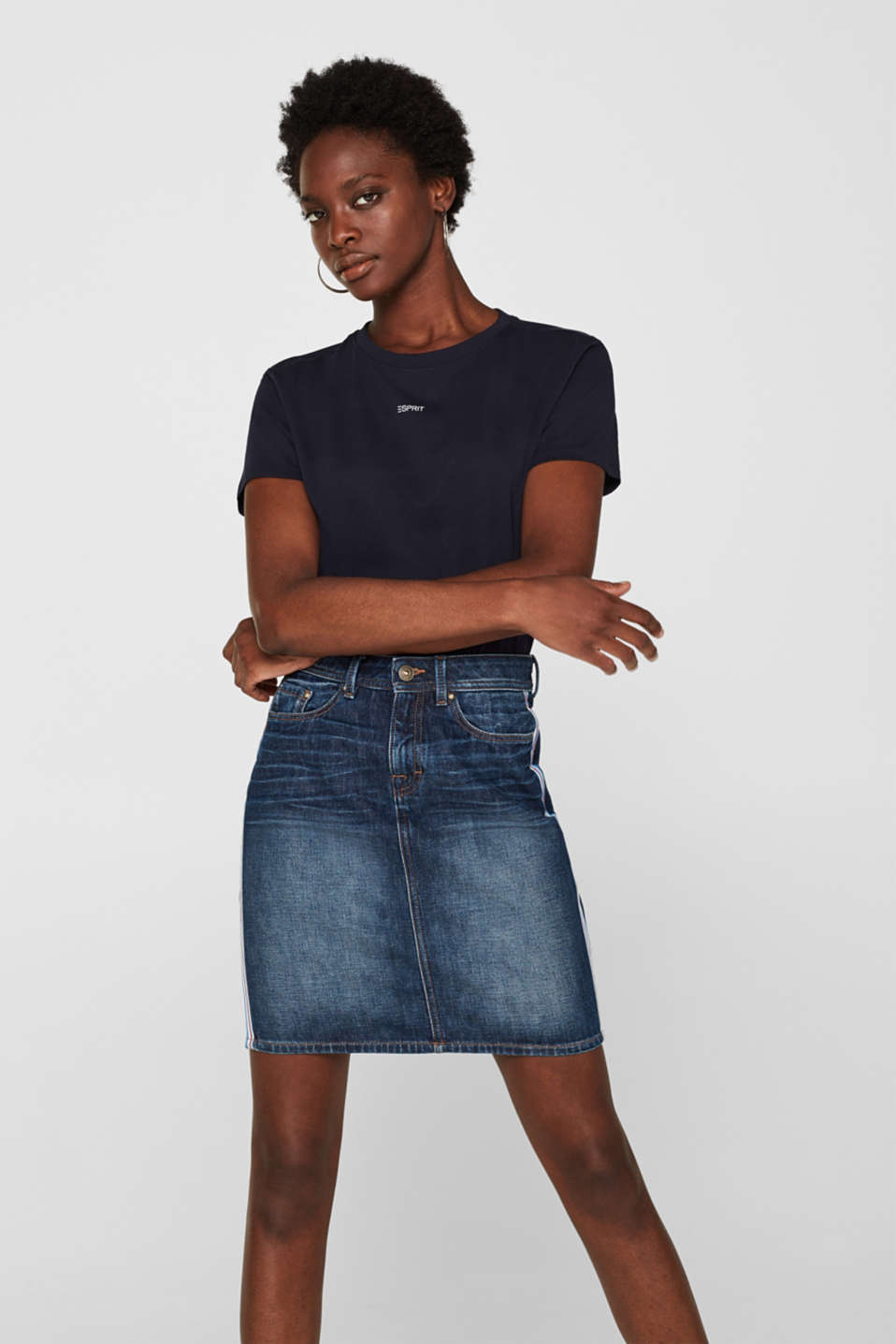 edc - Denim mini skirt with racing stripes