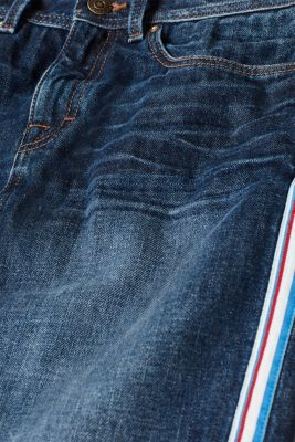 Denim mini skirt with racing stripes