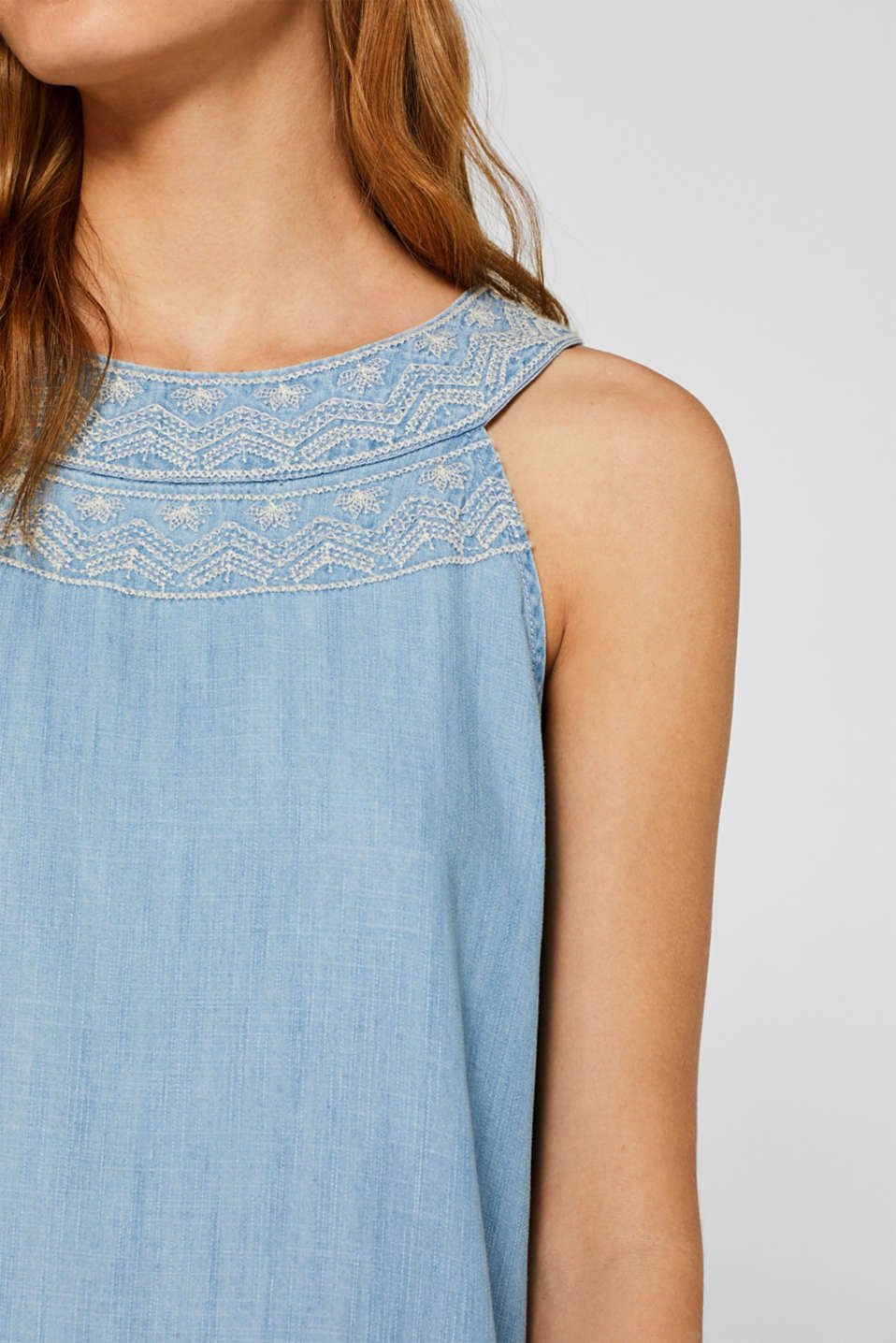 Embroidered dress made of 100% lyocell, BLUE LIGHT WASH, detail image number 3