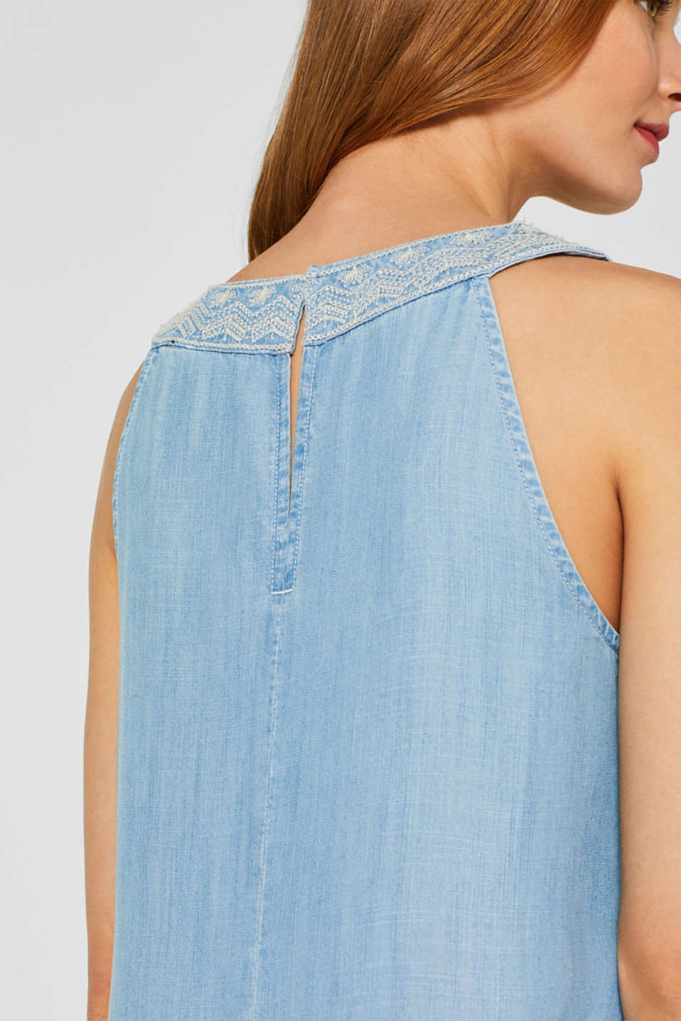 Embroidered dress made of 100% lyocell, BLUE LIGHT WASH, detail image number 6