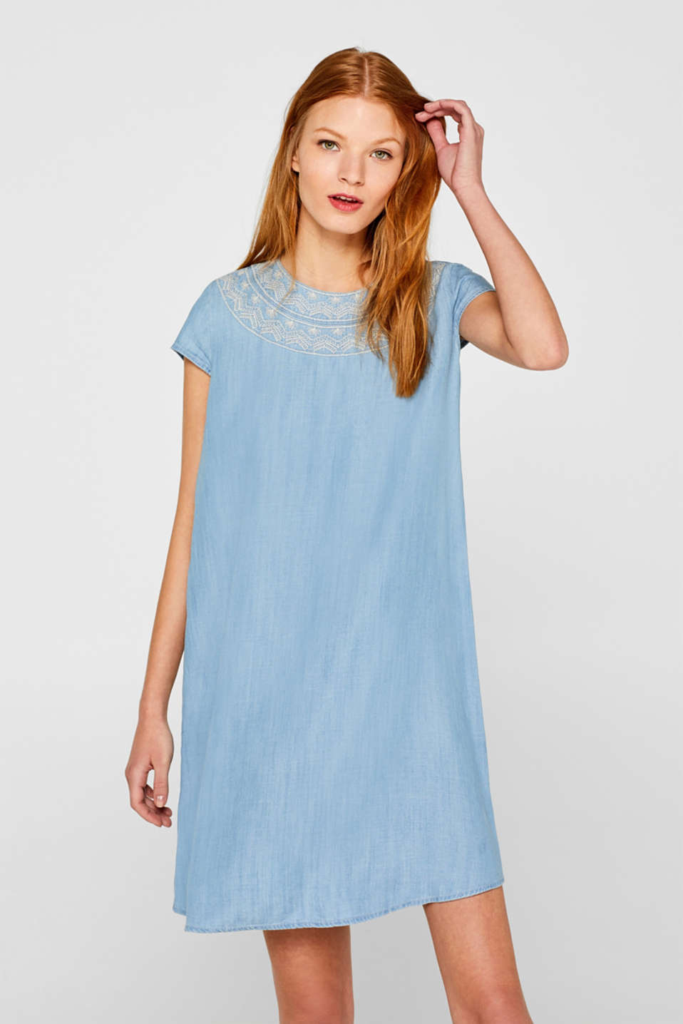 edc - Embroidered denim-effect dress, 100% lyocell