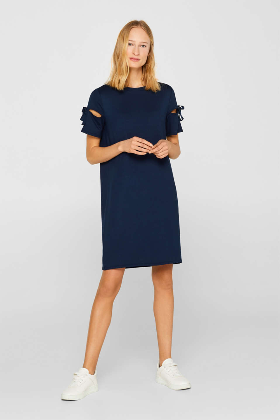 Jersey dress with knotted details, NAVY 2, detail image number 0