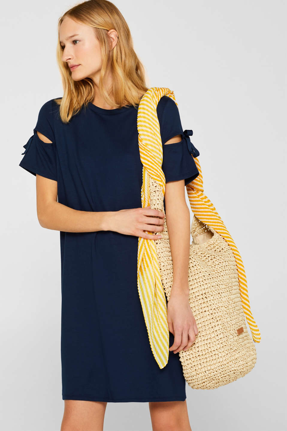 Jersey dress with knotted details, NAVY 2, detail image number 1