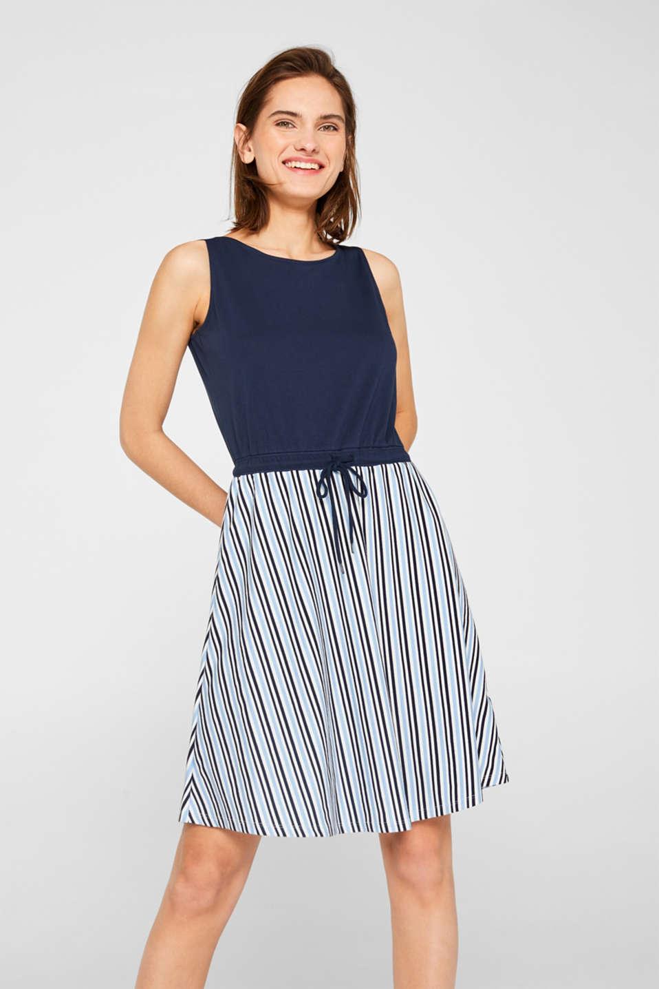 baaa1bf7bd85d6 edc - Jersey jurk met tunnelkoord en gestreepte rok kopen in de ...