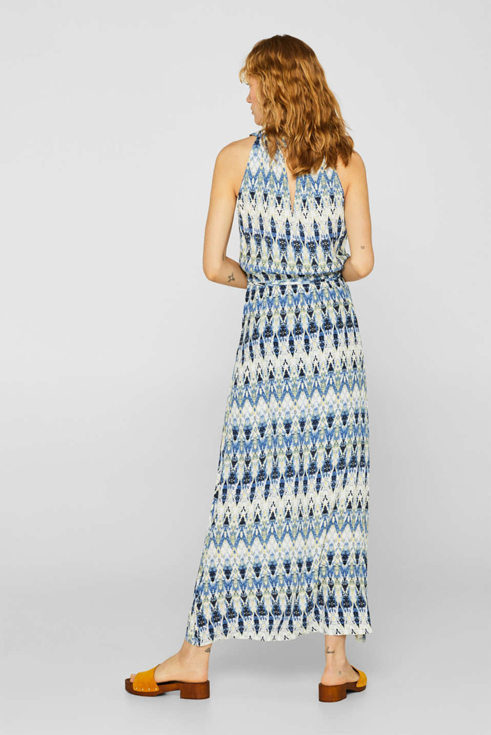 Maxi dress with a print and cut-away shoulders, NAVY, detail image number 2