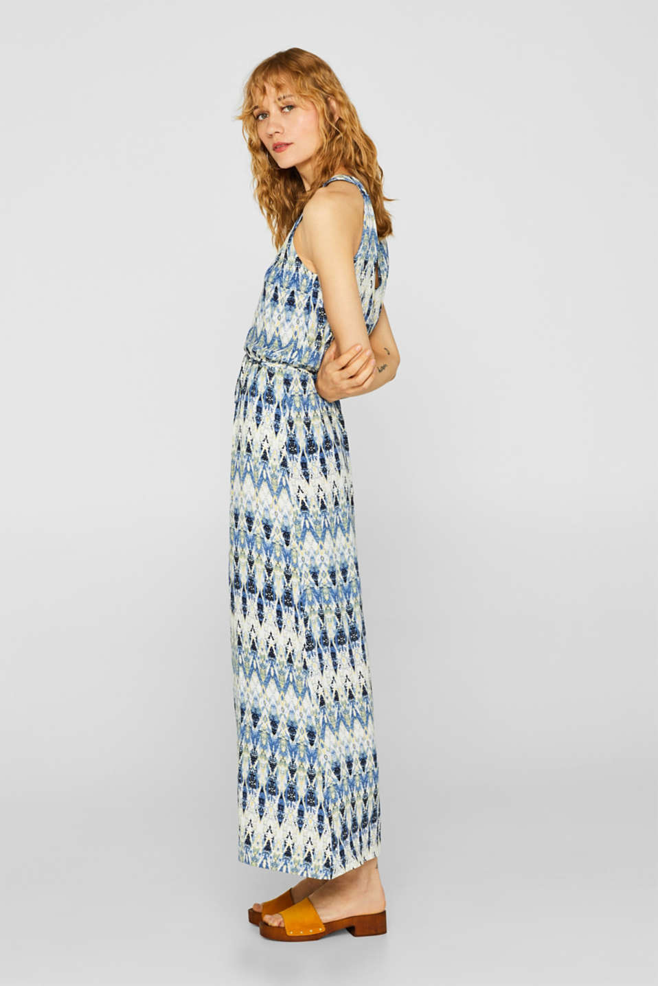Maxi dress with a print and cut-away shoulders, NAVY, detail image number 5
