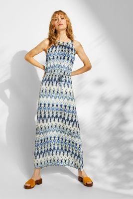 Maxi dress with a print and cut-away shoulders, NAVY, detail