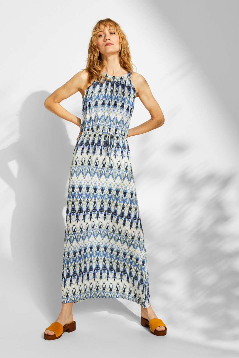 Maxi dress with a print and cut-away shoulders, NAVY, detail image number 1