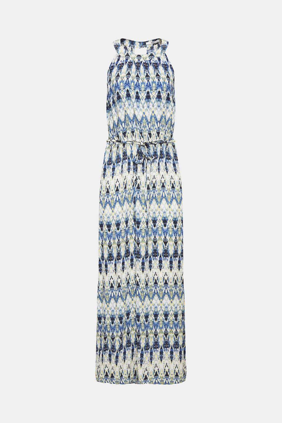 Maxi dress with a print and cut-away shoulders, NAVY, detail image number 7