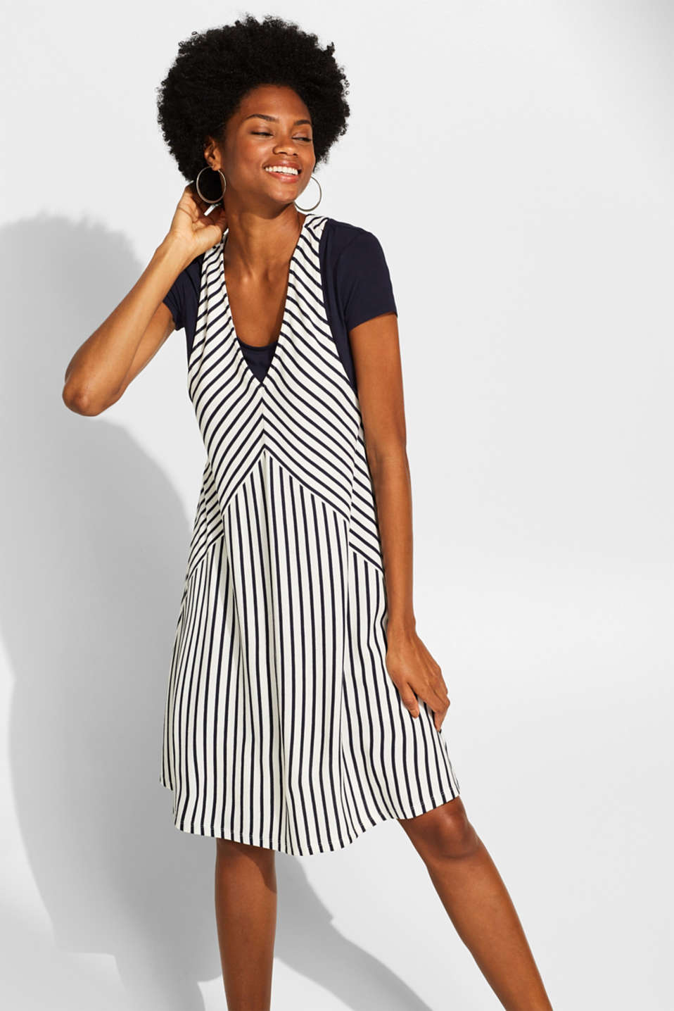 edc - 2-in-1 dress in a layered look with stripes
