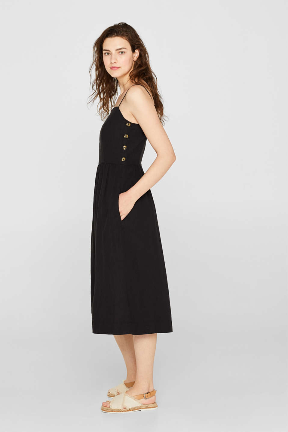 Made of blended linen: Dress with decorative button plackets, BLACK, detail