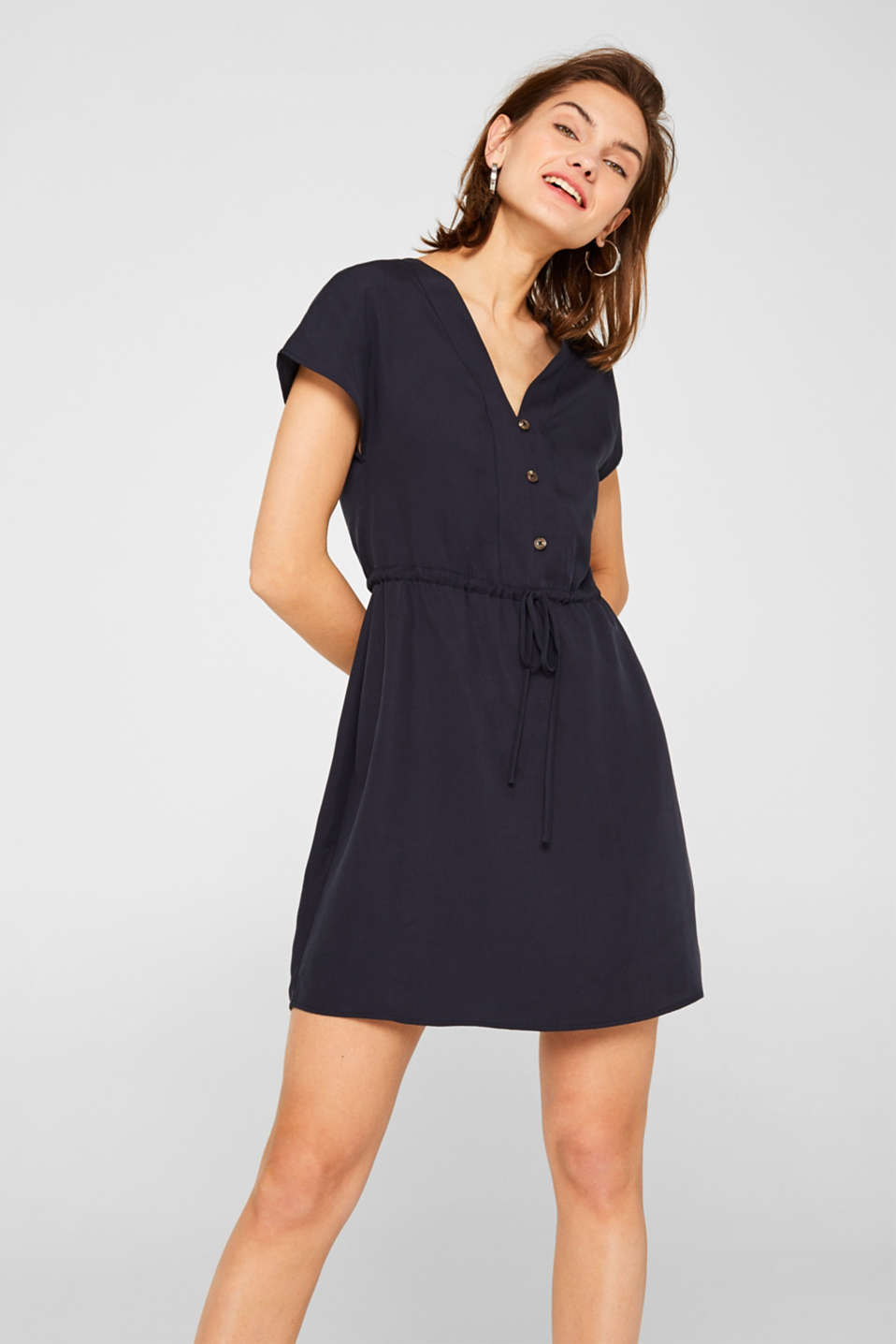 edc - Lyocell dress with a button placket and drawstring