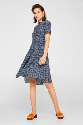 Crêpe dress with a print and swirling skirt, NAVY, detail