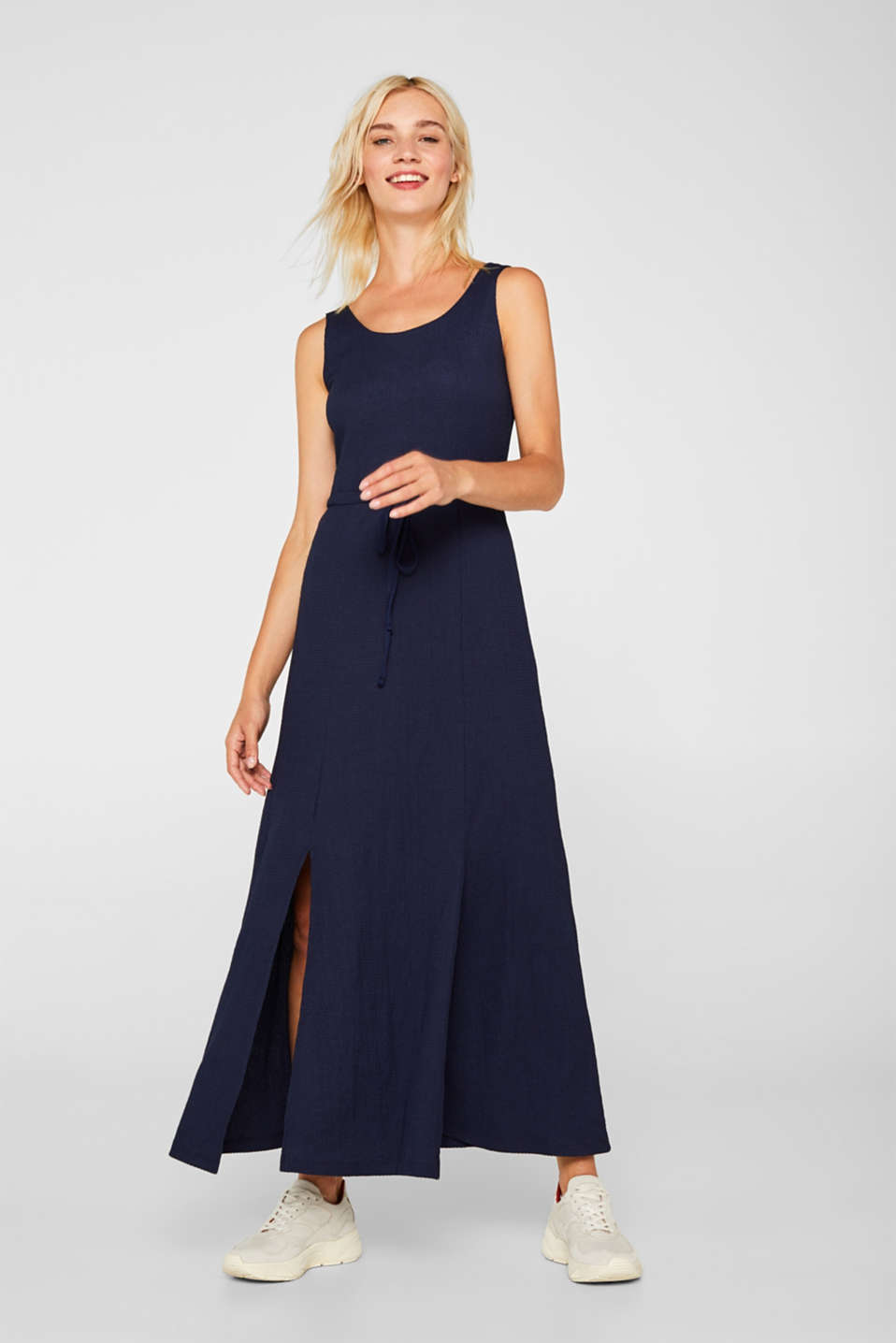 Crinkle look maxi dress, NAVY, detail image number 1