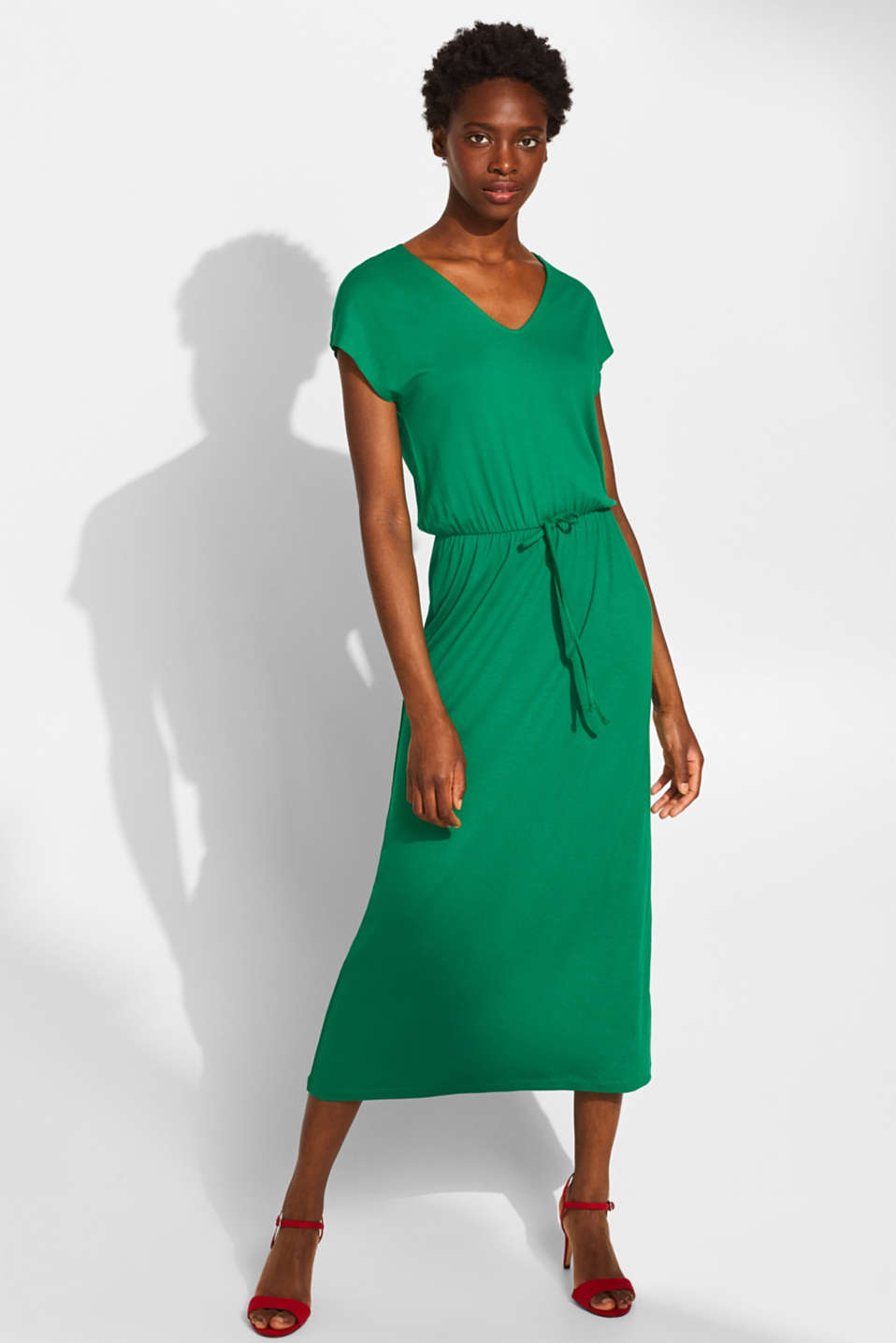 Jersey dress with stretch and lace, GREEN, detail image number 0