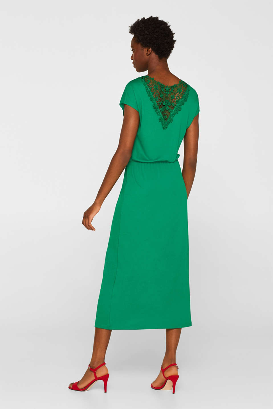 Jersey dress with stretch and lace, GREEN, detail image number 2