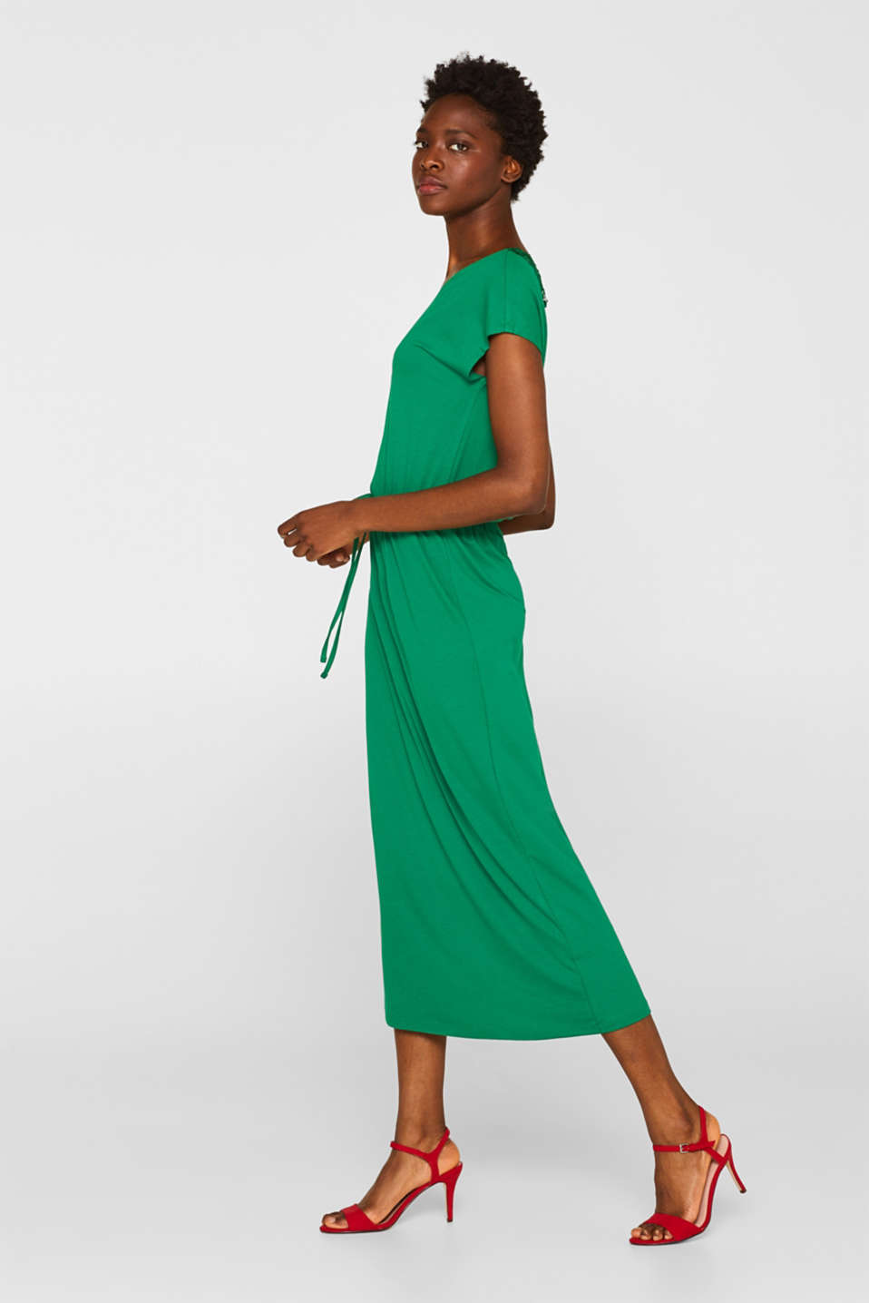 Jersey dress with stretch and lace, GREEN, detail image number 1