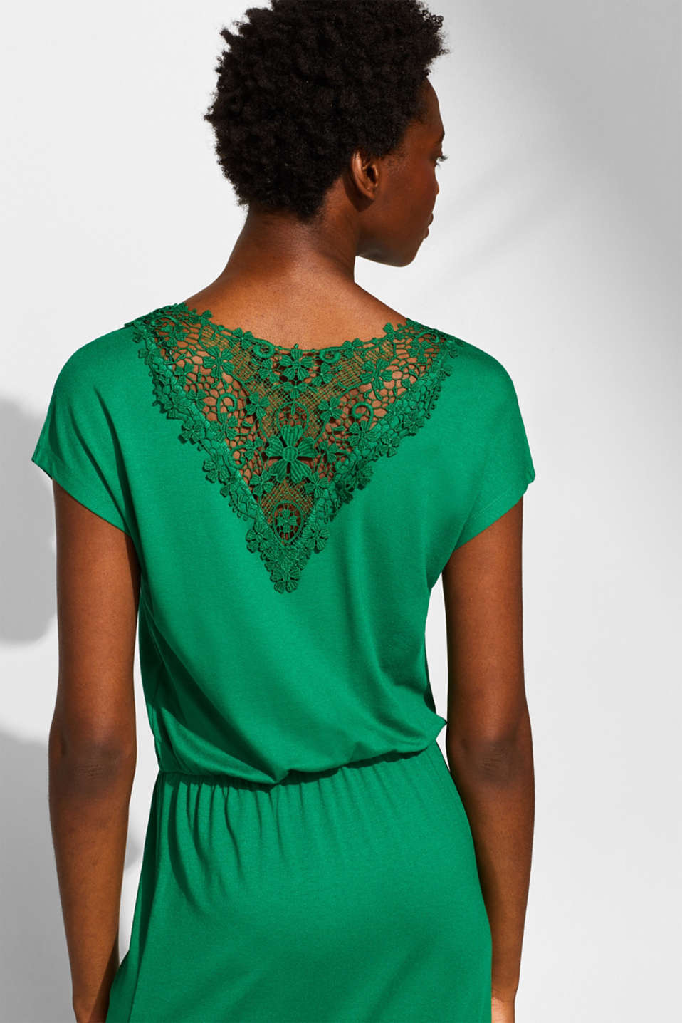 Jersey dress with stretch and lace, GREEN, detail image number 3