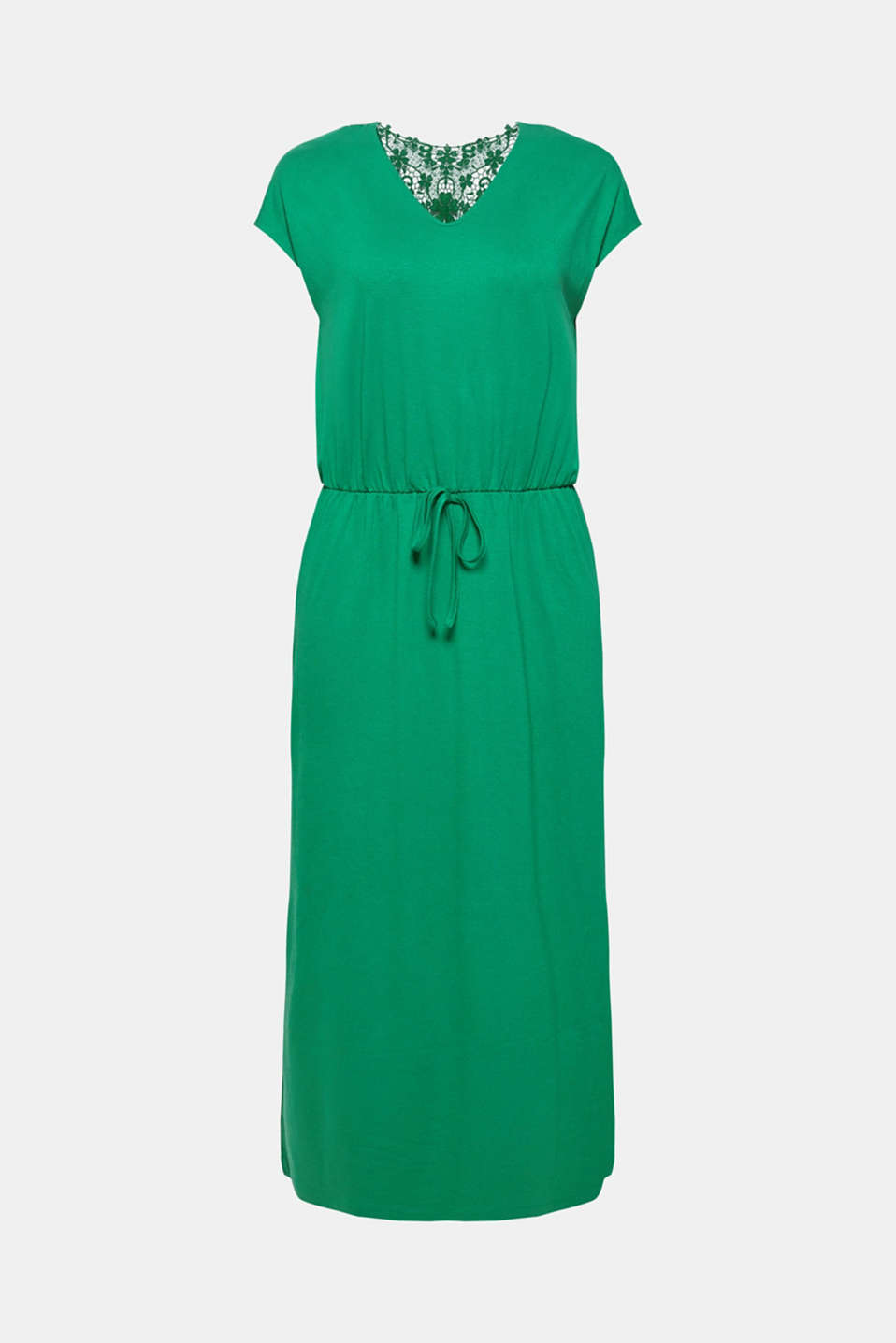Jersey dress with stretch and lace, GREEN, detail image number 6