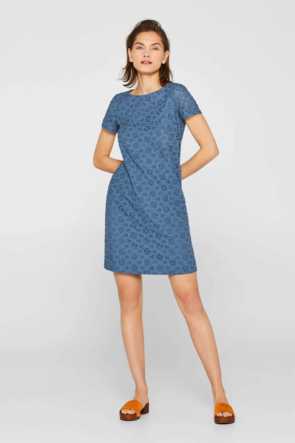Woven dress with broderie anglaise, GREY BLUE, detail