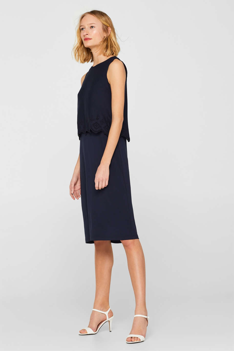 Layered jersey dress with broderie anglaise, NAVY, detail image number 1
