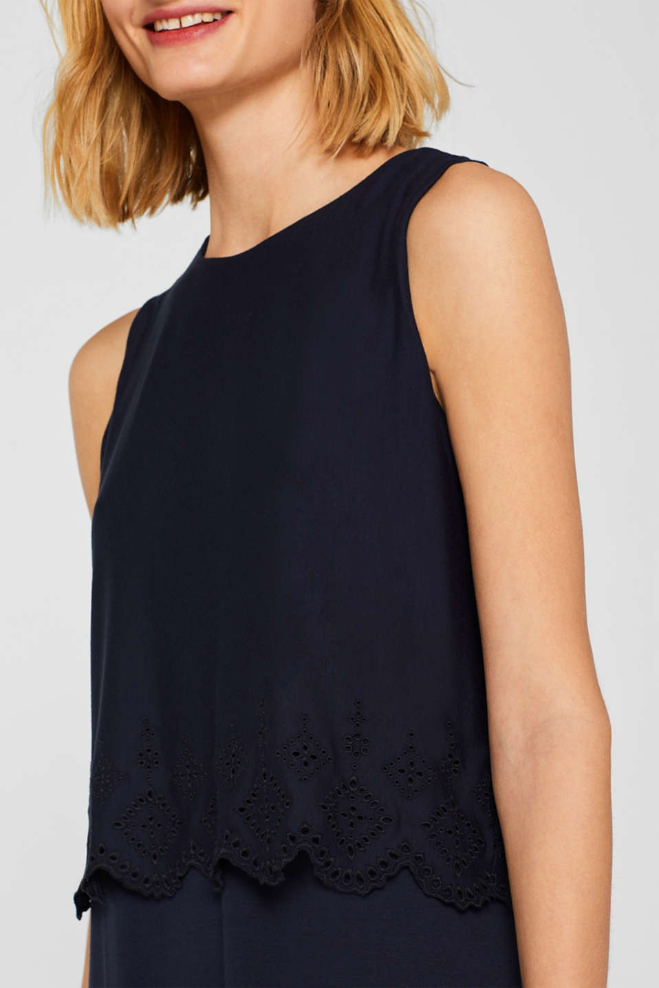 Layered jersey dress with broderie anglaise, NAVY, detail image number 3