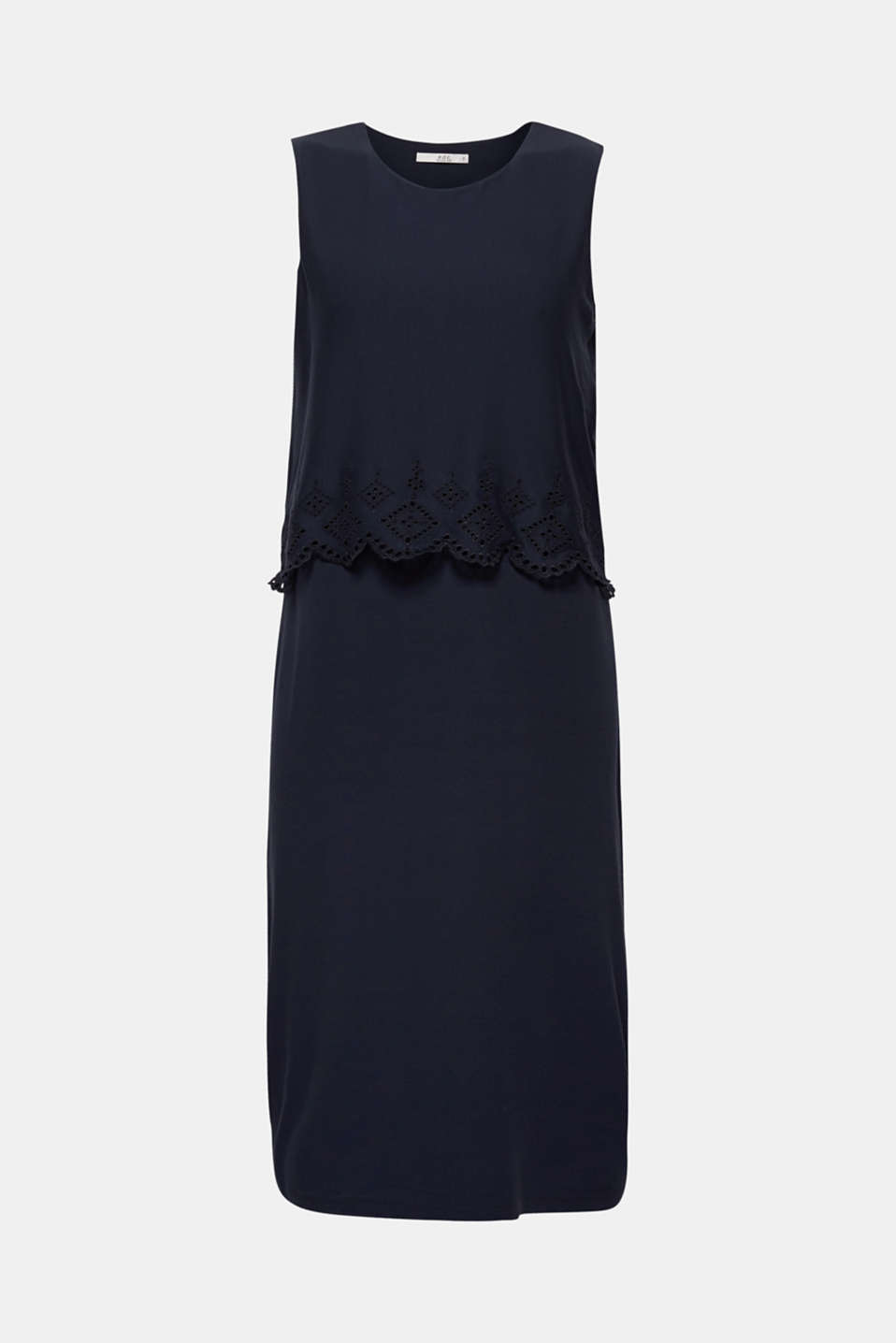 Layered jersey dress with broderie anglaise, NAVY, detail image number 5