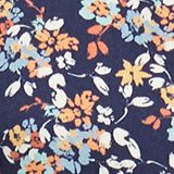 Midi dress made of crêpe with a mille-fleurs print, NAVY, swatch
