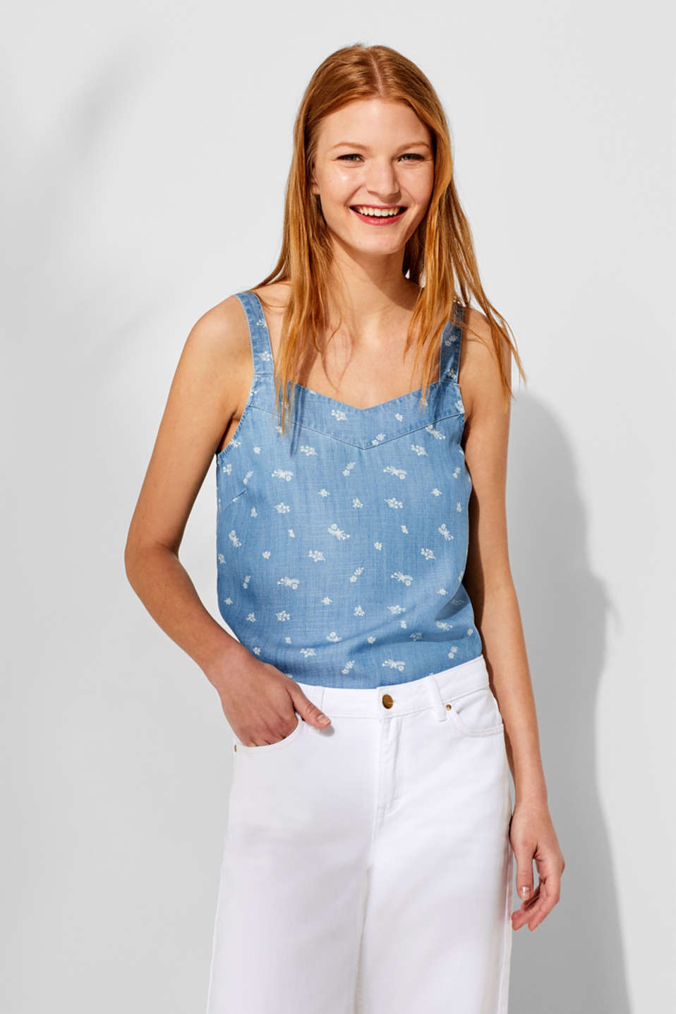 Printed blouse top in lyocell