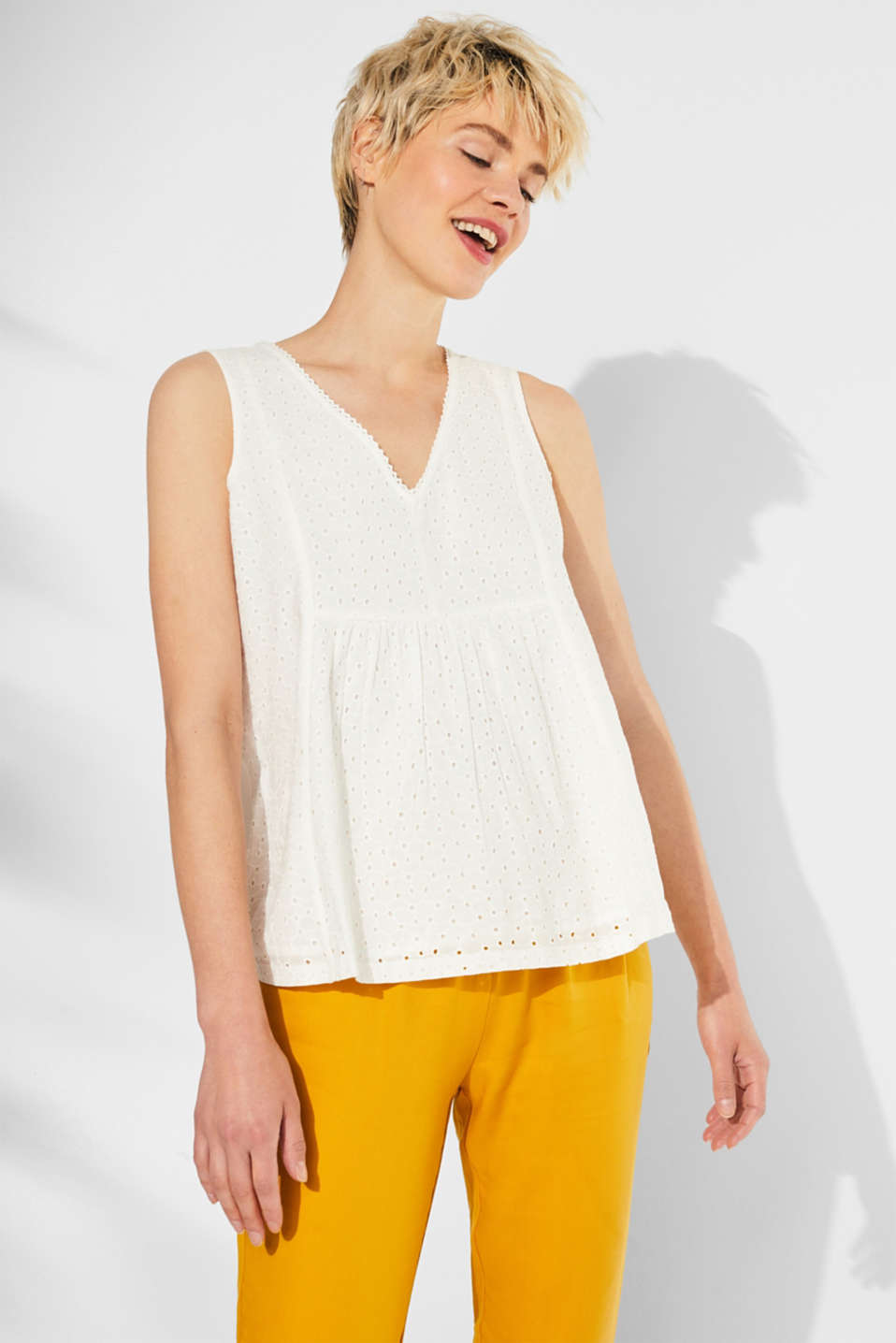 Blouse top with broderie anglaise and a jersey back