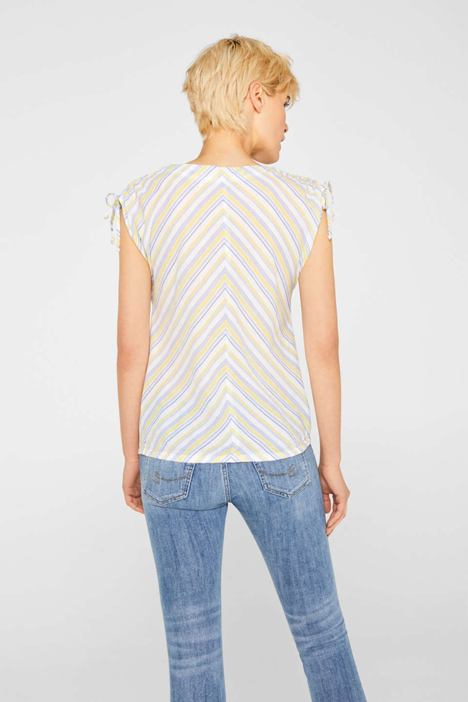 Blouse top with organic cotton, 100% cotton, LIGHT YELLOW, detail image number 3
