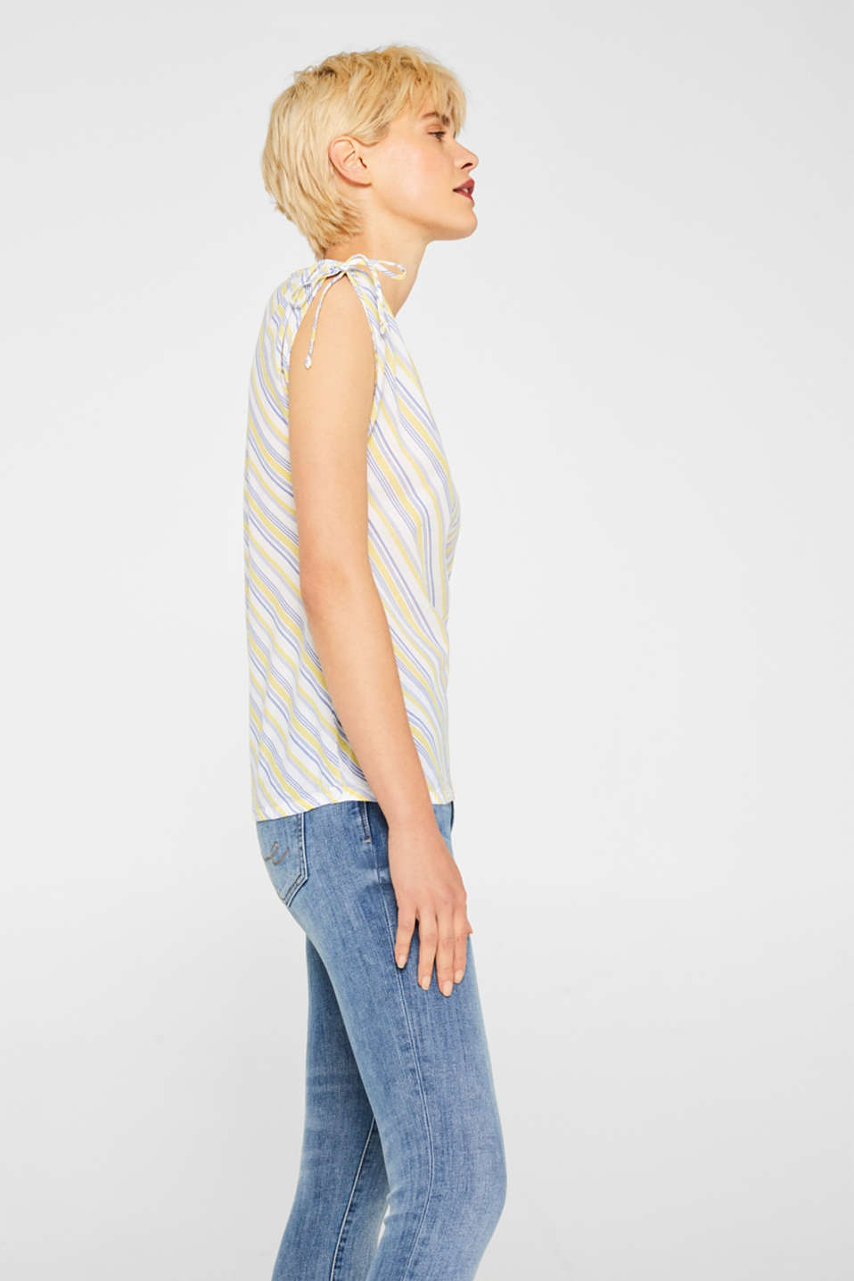 Blouse top with organic cotton, 100% cotton, LIGHT YELLOW, detail image number 5