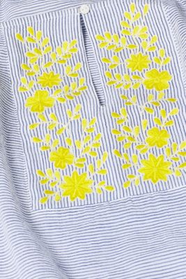 Striped top with embroidery, 100% cotton