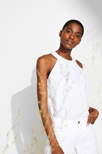a50e51a0ef8 Haut façon blouse à broderie anglaise