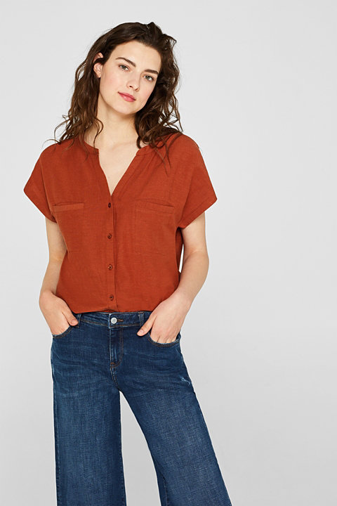 With linen: shirt blouse with large pockets