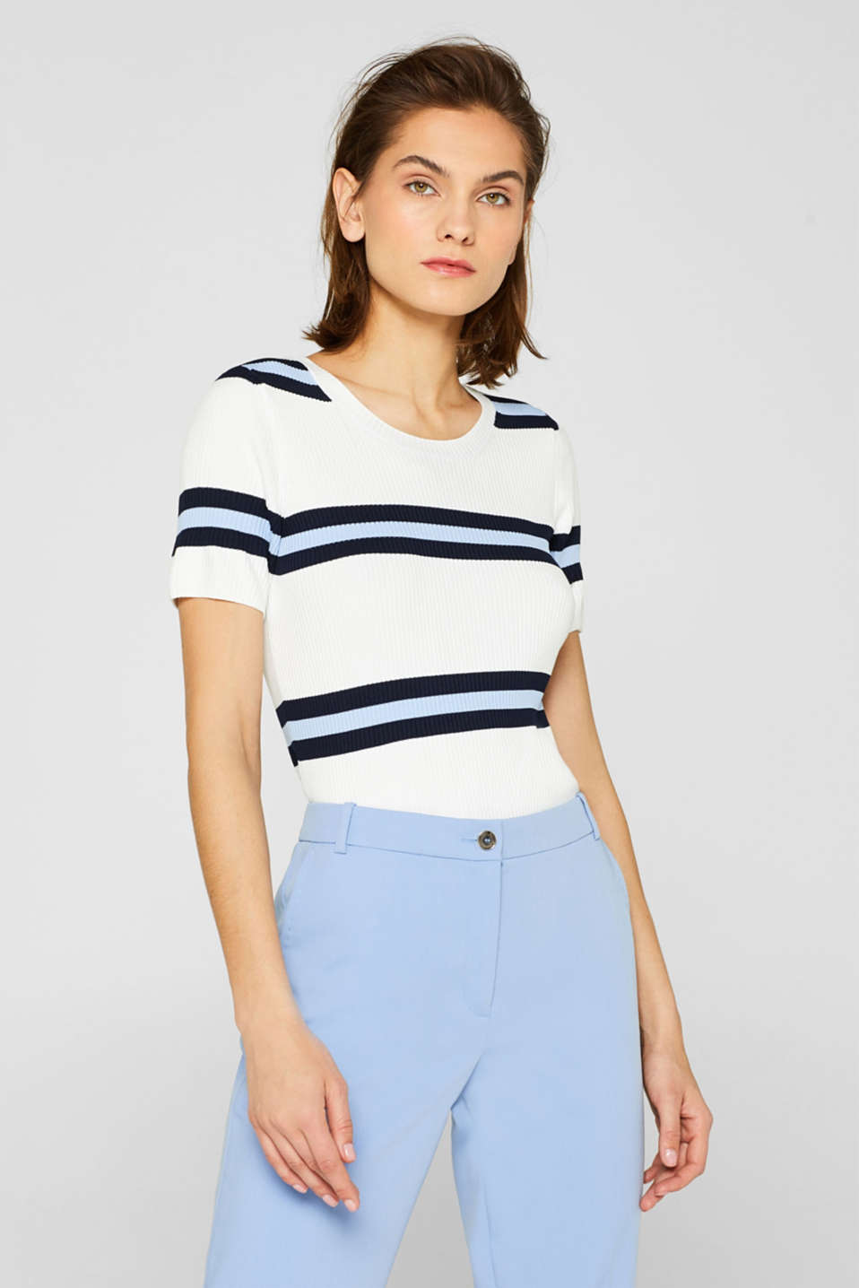 edc - Ribbed short-sleeved jumper with stripes