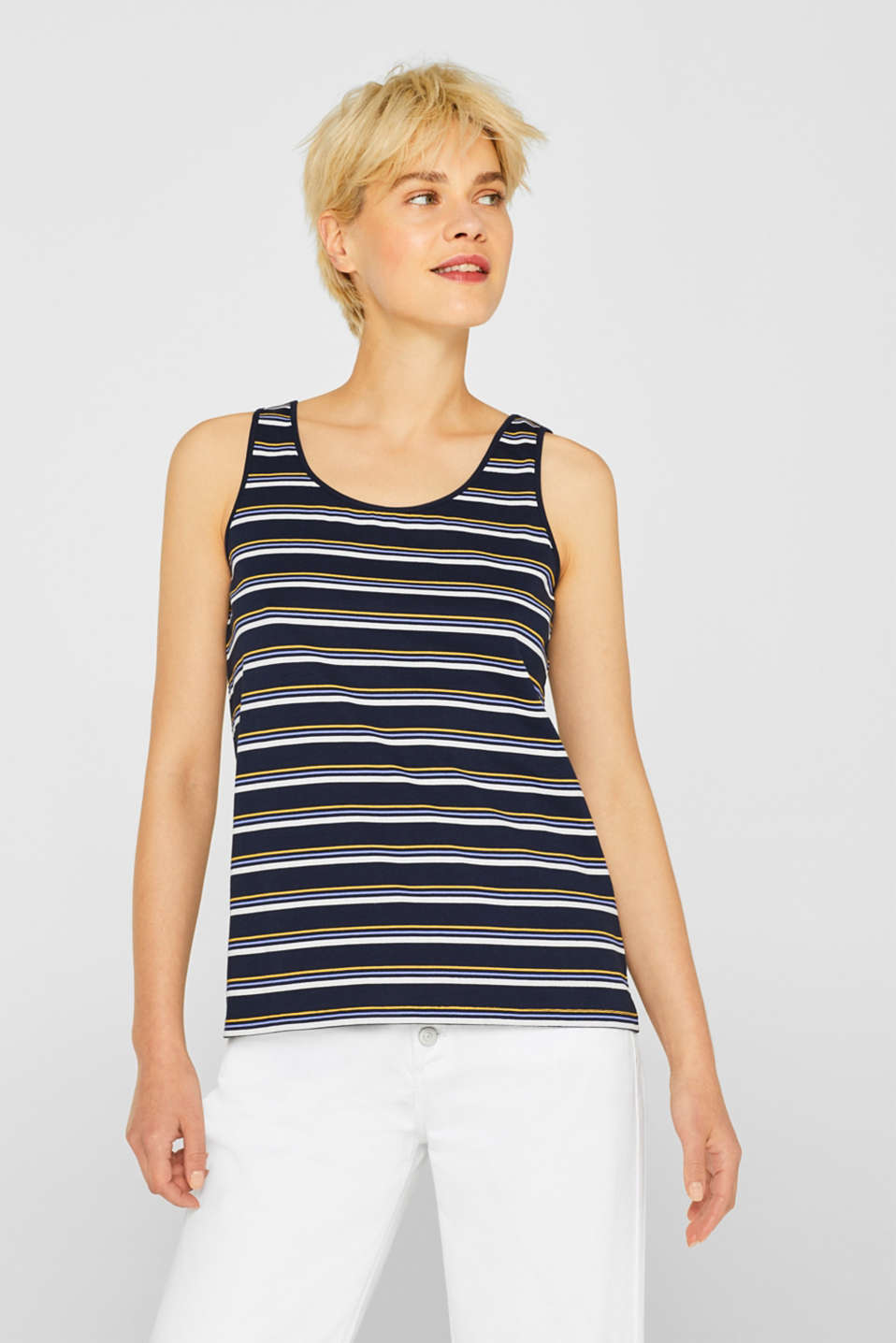 edc - Vest top with stripe print, 100% cotton