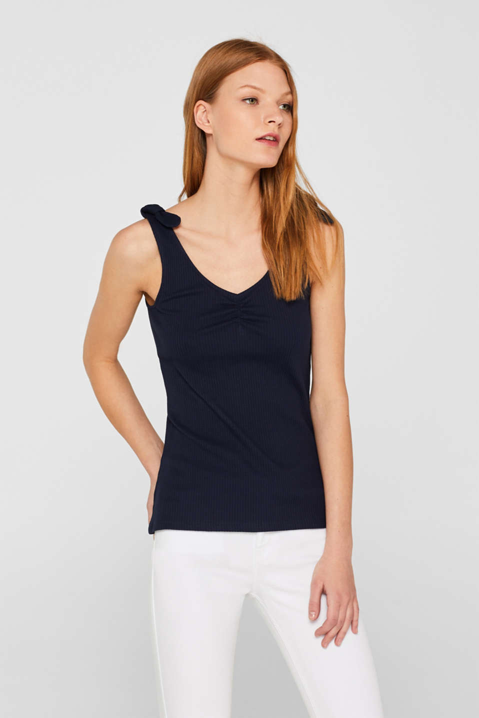 edc - Ribbed jersey stretch top with bow straps