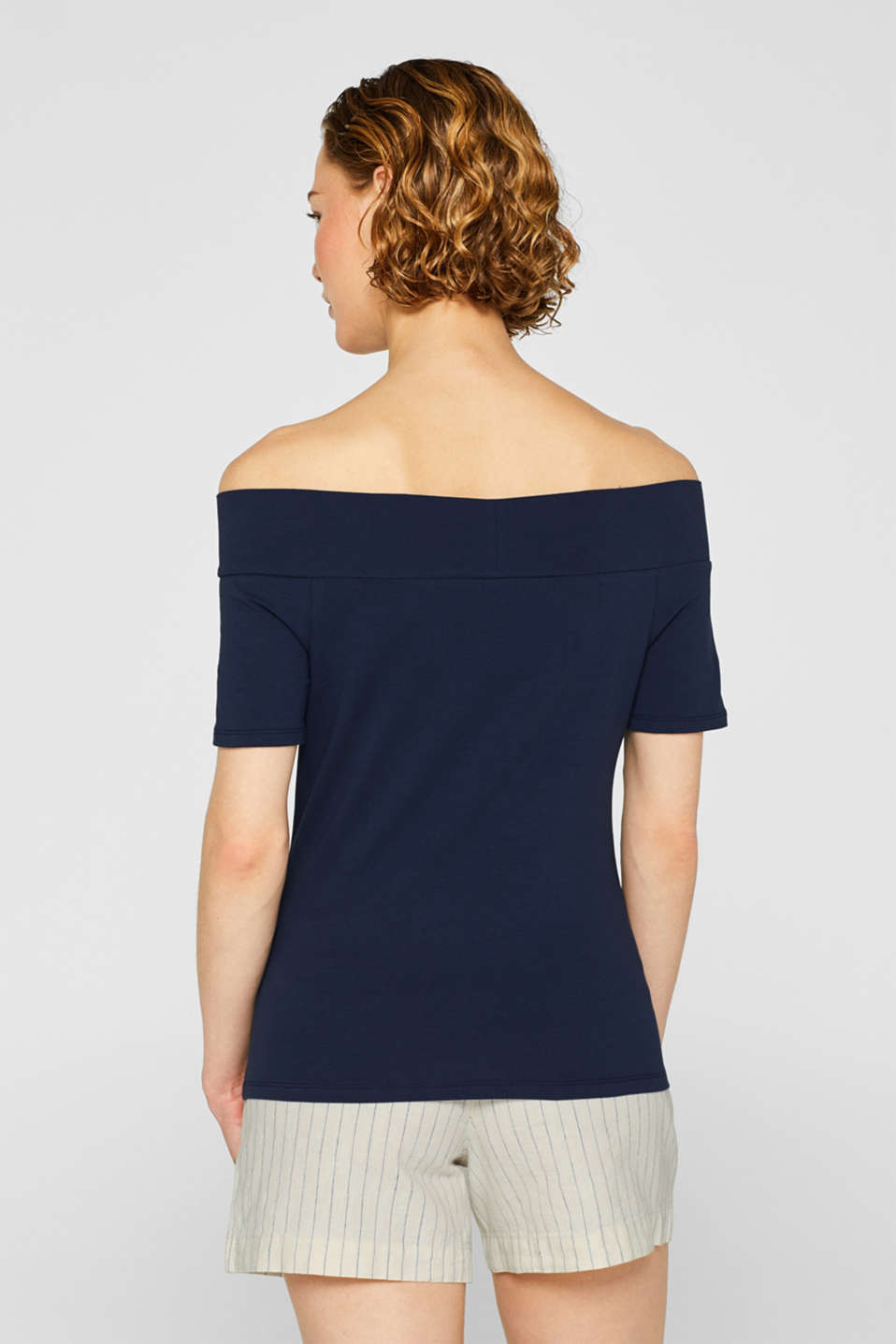 Stretch T-shirt with a Carmen neckline and bow detail, NAVY, detail image number 3