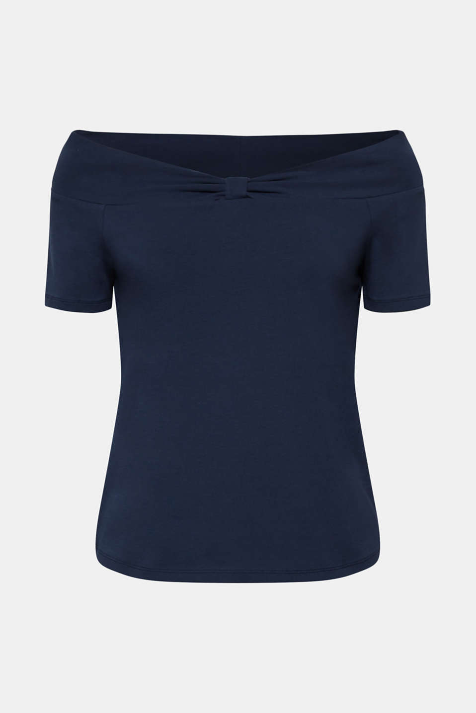 Stretch T-shirt with a Carmen neckline and bow detail, NAVY, detail image number 6