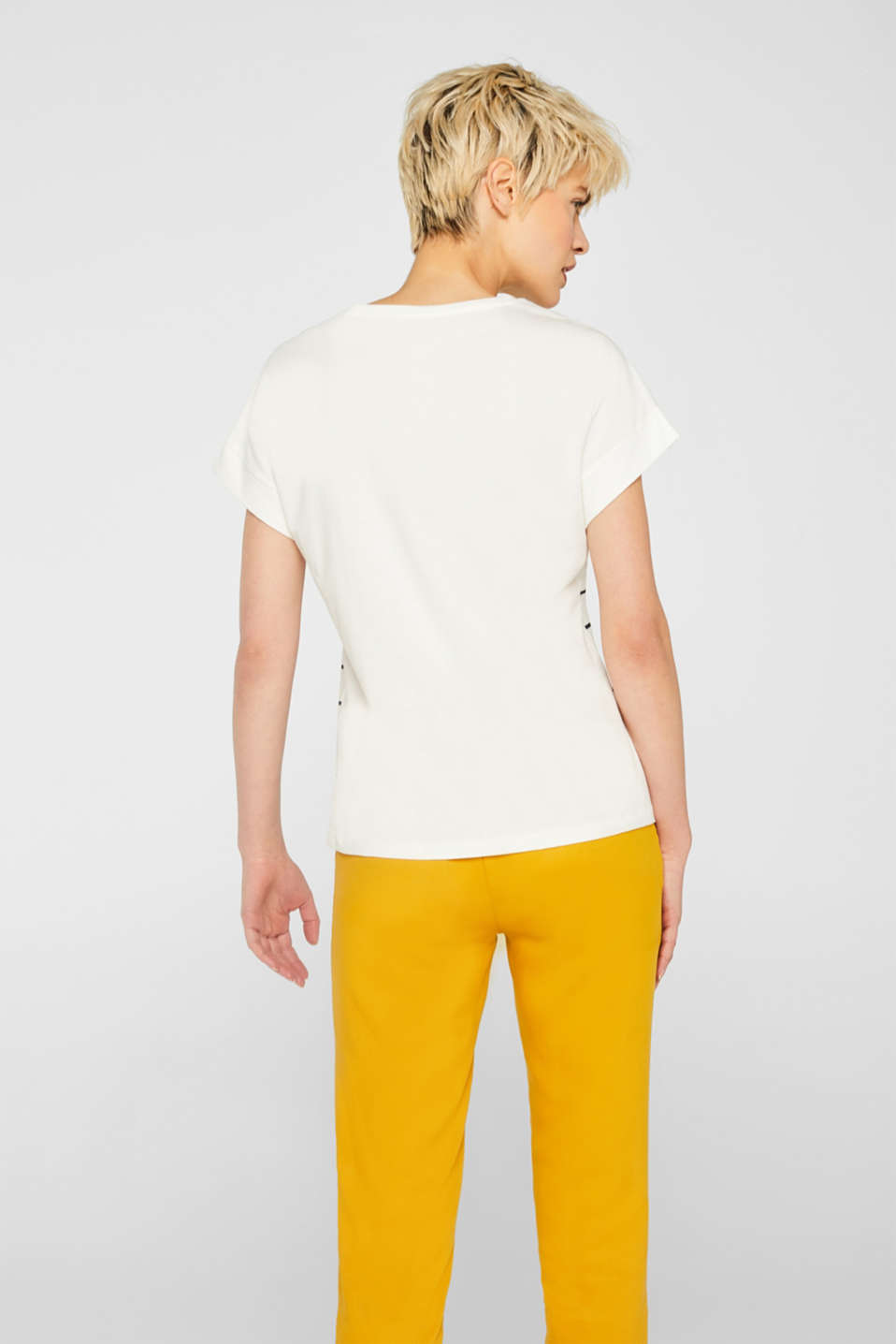 Striped top with embroidered details, 100% cotton, OFF WHITE, detail image number 3