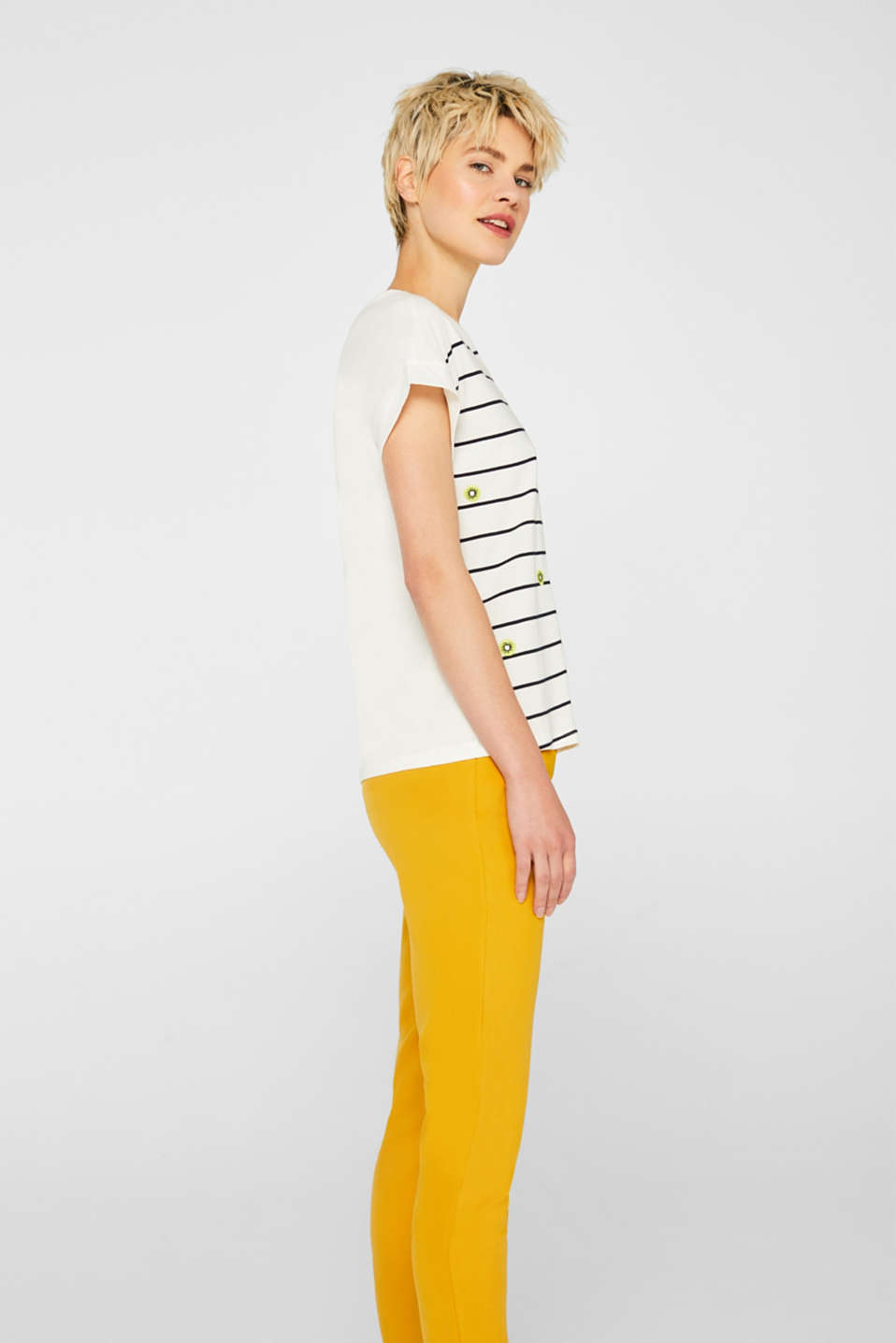 Striped top with embroidered details, 100% cotton, OFF WHITE, detail image number 5