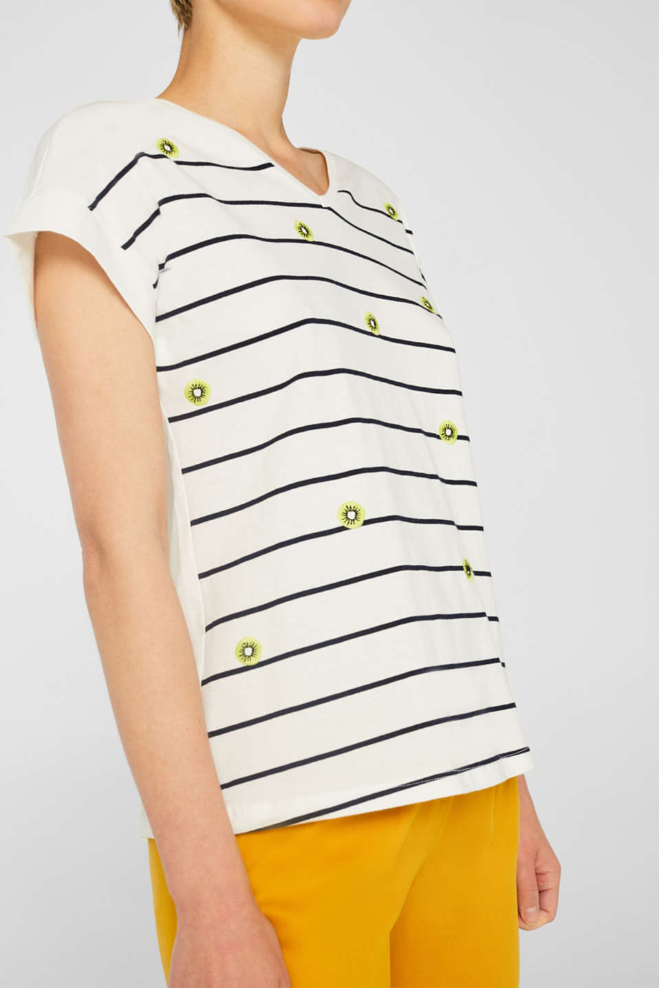 Striped top with embroidered details, 100% cotton, OFF WHITE, detail image number 2